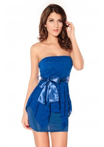 Elegant Blue Double-layer Package Hip Tutu Dress