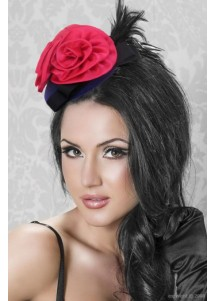 Red Flower And Black Feather Decoration Custome Hat