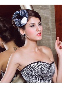 Sexy Zebra Mini Top Hat with Flower and Feather