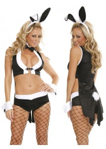 Sexy Bunny Costume Cloak Top and Short Set