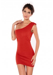 Exquisite Rose Pattern Single-shoulder Mini Dress Red