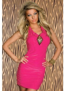 Roseo Ruched Sexy Dress with Gold Studs Front