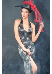 Deep Plunging Halter Top Witch Gown Costume
