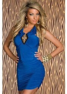 Blue Ruched Sexy Dress with Gold Studs Front