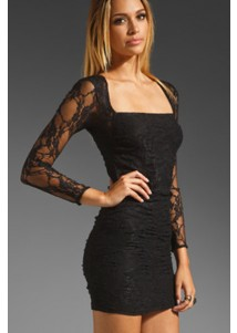 Black Dress with Long Semitransparent Sleeves