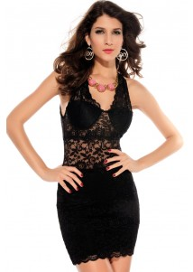 Black Allover Lace Strappy Fitted Cup Bodycon Dress