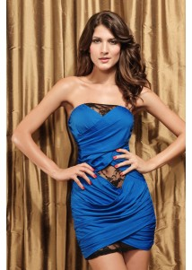 Captivating Blue shiny short clubwear sexy mini vestido