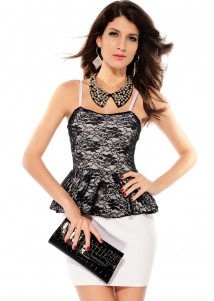 White Elegant Straps Peplum Dress with Black Cover