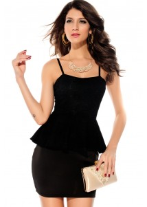 Black Elegant Straps Peplum Dress