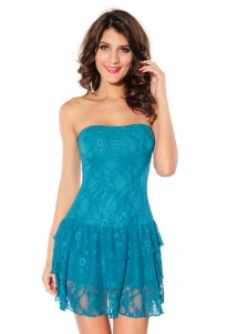Blue Flirting Lace Bandeau Cascading Ruffled Dress