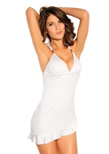 Clean-cut Ruffle Hem sexy White Club Dresses