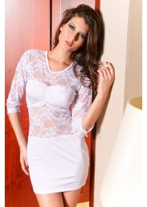 Delicate Sexy Mini Dress With Precious Lace Cream
