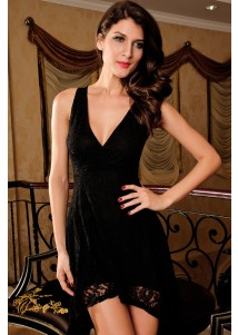 Elegant Cross Front Lace Dress with Hilo Hem