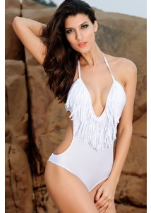 Ultra-sexy V-neck One Piece Swimsuit White