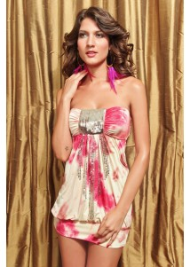 Mellow Sexy Rose Bandeau Mini Dress with Sequins