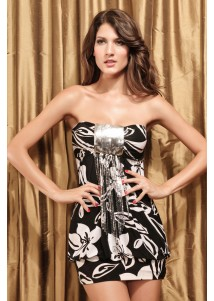 Mellow Sexy Black Bandeau Mini Dress with Sequins
