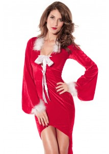 Red Drag Back Mistress Christmas Long Dress