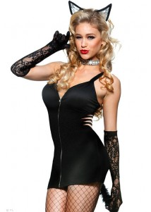 2-Piece Black Naughty Zipper Front Kitty Costume