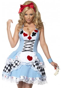3-Piece Charming Poke Queen Blue Costume