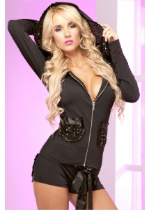 Sequin Hooded Jacket and Pucker Back Short Set