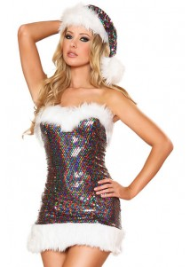Sexy Rainbow Sequin Santa Costume