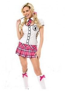 Charming Schoolgirl White and Red Check Pattern Cosplay Costume
