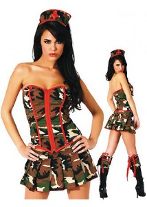 Hot Strapless Top Police Lady Costume Set