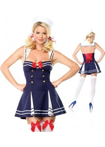 Seductive Backless Blue Dress Sailor Costume
