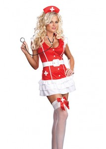 Sexy Red Passion Nurse Cosplay Costume