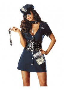 Deep-V One-piece Skirt Police Costume