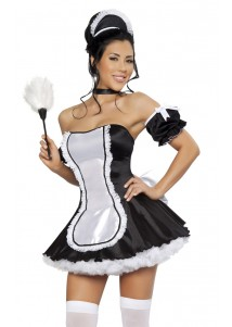 Sexy Strapless Maid Dress Costume Set