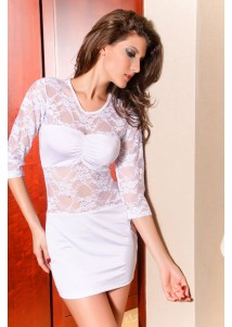 Fashion Hollow-out Mini Dress With Lace Connection