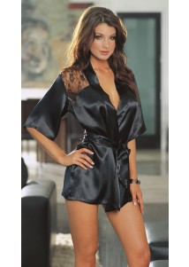 Black Silk Chemise With Lace Shouler Hollow-out